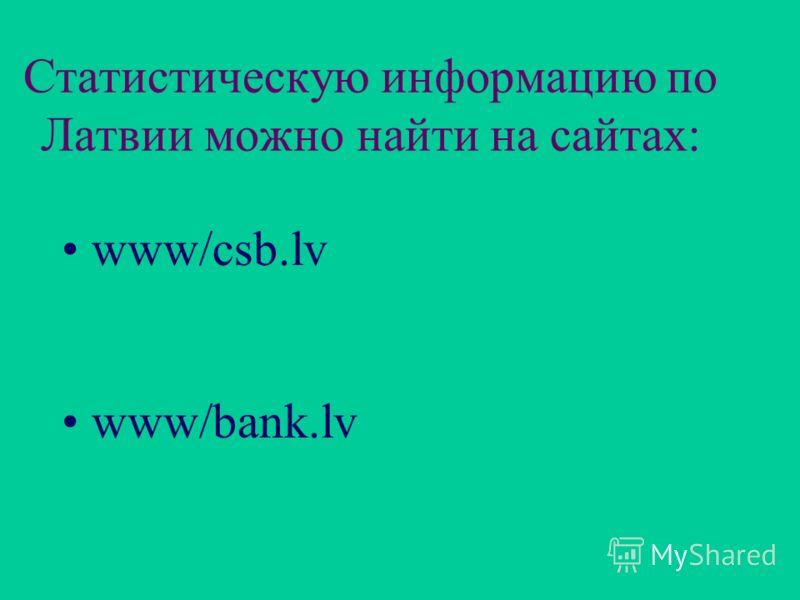 Статистическую информацию по Латвии можно найти на сайтах: www/csb.lv www/bank.lv