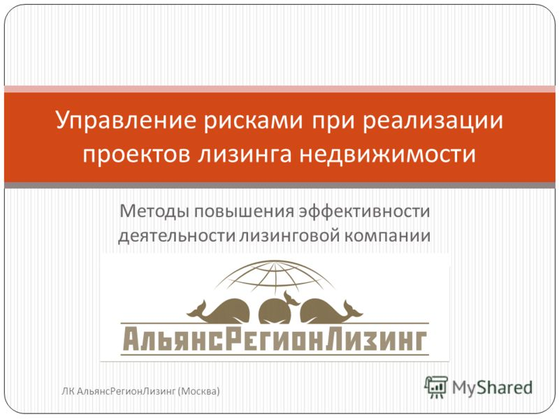 Методы повышения эффективности деятельности лизинговой компании Управление рисками при реализации проектов лизинга недвижимости ЛК АльянсРегионЛизинг (Москва)