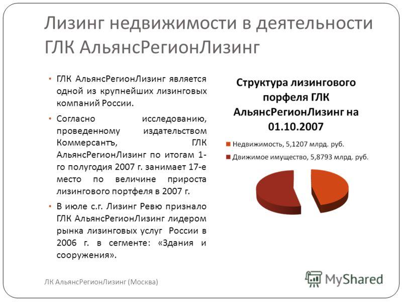 Лизинг недвижимости в деятельности ГЛК АльянсРегионЛизинг ГЛК АльянсРегионЛизинг является одной из крупнейших лизинговых компаний России. Согласно исследованию, проведенному издательством Коммерсантъ, ГЛК АльянсРегионЛизинг по итогам 1- го полугодия
