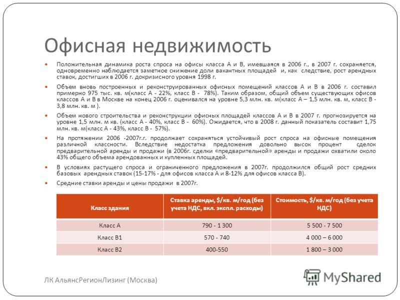 Офисная недвижимость ЛК АльянсРегионЛизинг (Москва) Положительная динамика роста спроса на офисы класса А и В, имевшаяся в 2006 г., в 2007 г. сохраняется, одновременно наблюдается заметное снижение доли вакантных площадей и, как следствие, рост аренд