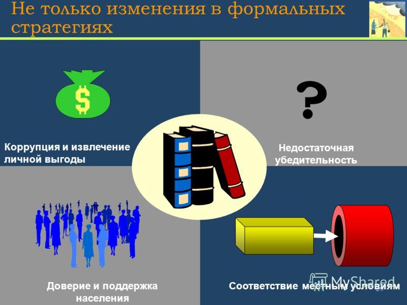 20 Не только изменения в формальных стратегиях Коррупция и извлечение личной выгоды Недостаточная убедительность Доверие и поддержка населения Соответствие местным условиям ?