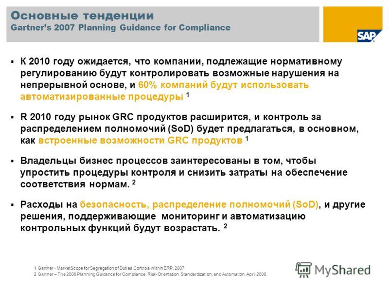 Основные тенденции Gartners 2007 Planning Guidance for Compliance К 2010 году ожидается, что компании, подлежащие нормативному регулированию будут контролировать возможные нарушения на непрерывной основе, и 60% компаний будут использовать автоматизир