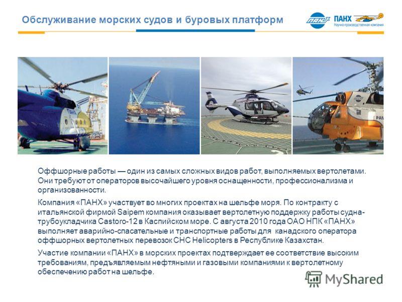 Оффшорные работы один из самых сложных видов работ, выполняемых вертолетами. Они требуют от операторов высочайшего уровня оснащенности, профессионализма и организованности. Компания «ПАНХ» участвует во многих проектах на шельфе моря. По контракту с и