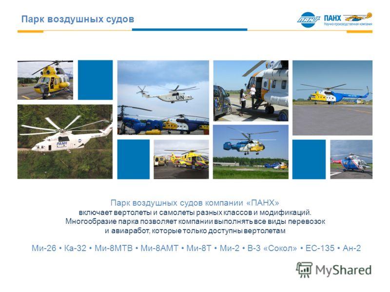 Парк воздушных судов Парк воздушных судов компании «ПАНХ» включает вертолеты и самолеты разных классов и модификаций. Многообразие парка позволяет компании выполнять все виды перевозок и авиаработ, которые только доступны вертолетам Ми-26 Ка-32 Ми-8М