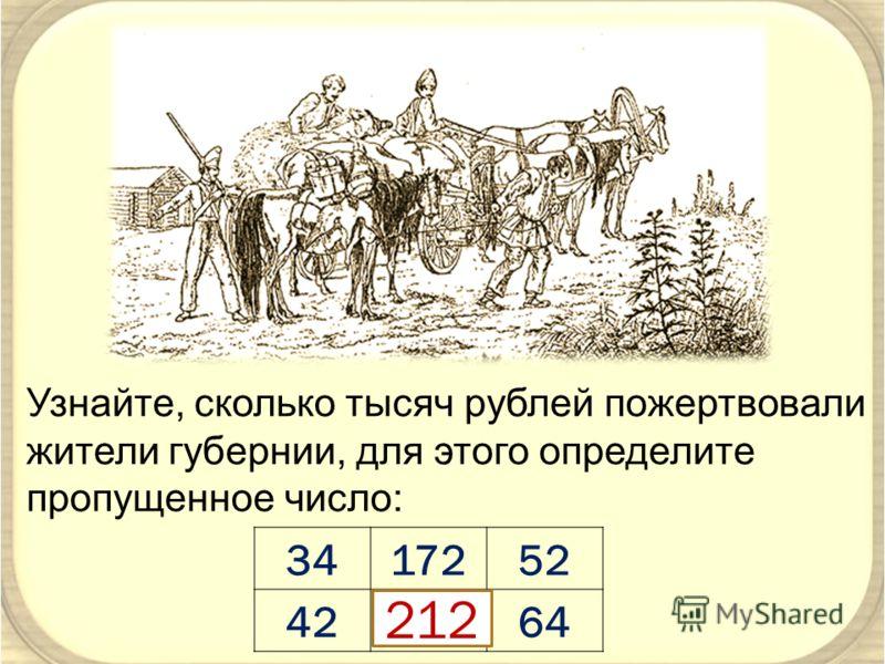 Узнайте, сколько тысяч рублей пожертвовали жители губернии, для этого определите пропущенное число: 3417252 42?64 212