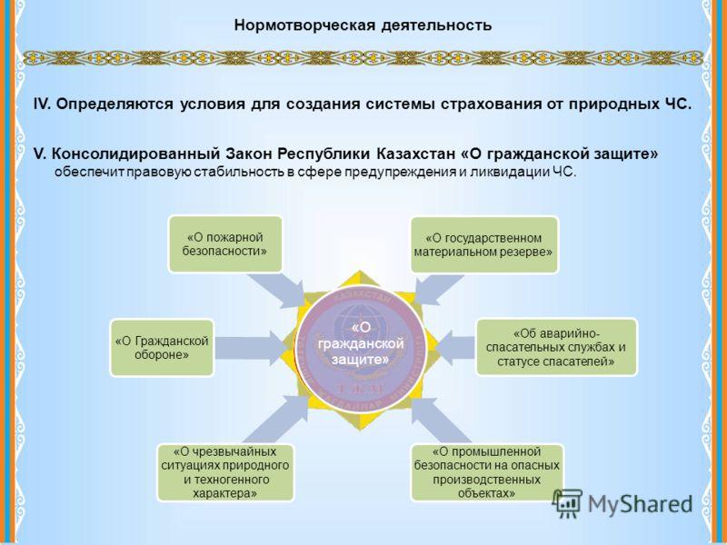 Нормотворческая деятельность IV. Определяются условия для создания системы страхования от природных ЧС. V. Консолидированный Закон Республики Казахстан «О гражданской защите» обеспечит правовую стабильность в сфере предупреждения и ликвидации ЧС.