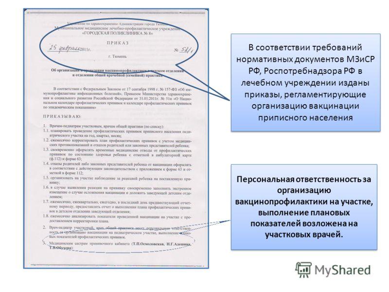 В соответствии требований нормативных документов МЗиСР РФ, Роспотребнадзора РФ в лечебном учреждении изданы приказы, регламентирующие организацию вакцинации приписного населения Персональная ответственность за организацию вакцинопрофилактики на участ