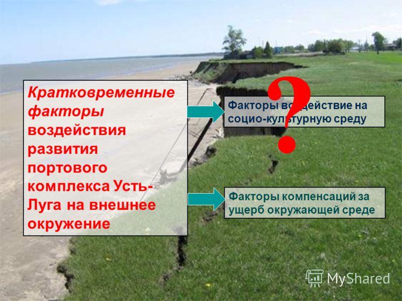 Кратковременные факторы воздействия развития портового комплекса Усть- Луга на внешнее окружение Факторы воздействие на социо-культурную среду Факторы компенсаций за ущерб окружающей среде ?