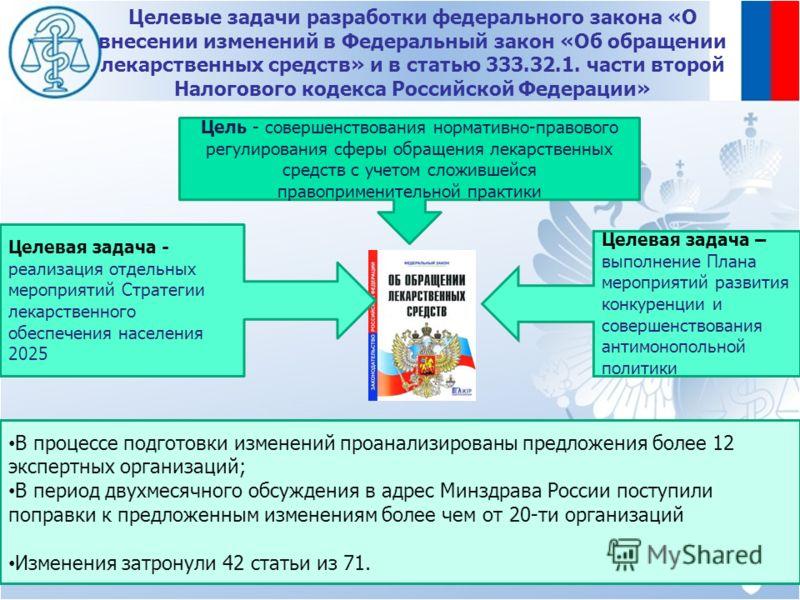 Целевые задачи разработки федерального закона «О внесении изменений в Федеральный закон «Об обращении лекарственных средств» и в статью 333.32.1. части второй Налогового кодекса Российской Федерации» 2 Цель - совершенствования нормативно-правового ре