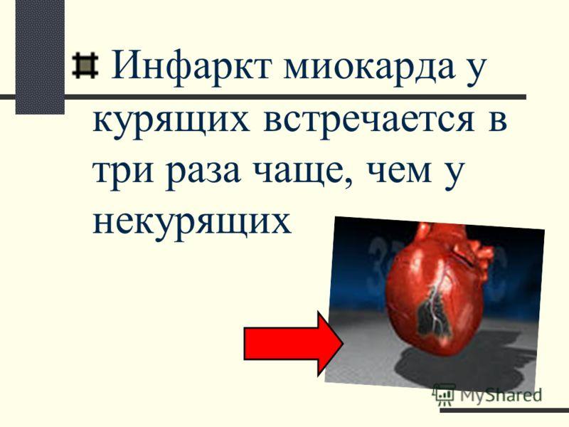 Инфаркт миокарда у курящих встречается в три раза чаще, чем у некурящих