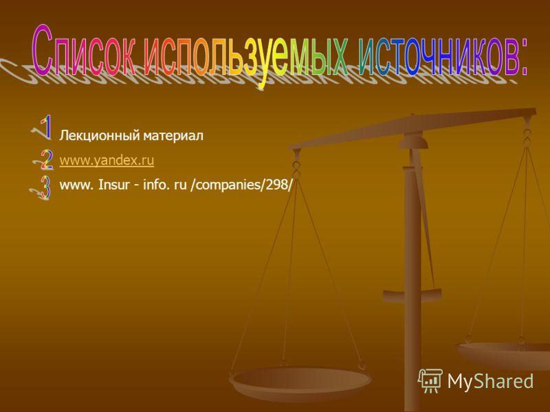 Лекционный материал www.yandex.ru www. Insur - info. ru /companies/298/