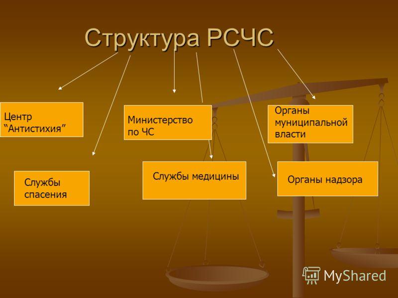 Структура РСЧС ЦентрАнтистихия Министерство по ЧС Органы муниципальной власти Службы спасения Службы медицины Органы надзора