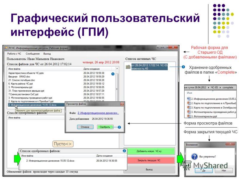 9 Хранение одобренных файлов в папке «Complete» Форма закрытия текущей ЧС Рабочая форма для Старшего ОД (С добавленными файлами) Графический пользовательский интерфейс (ГПИ) Форма просмотра файлов