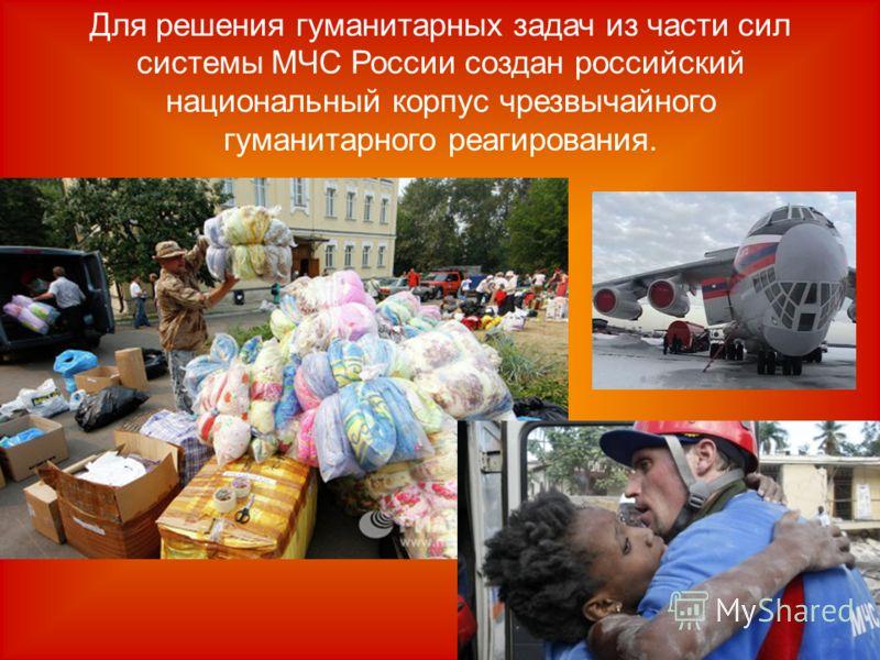 Для решения гуманитарных задач из части сил системы МЧС России создан российский национальный корпус чрезвычайного гуманитарного реагирования.