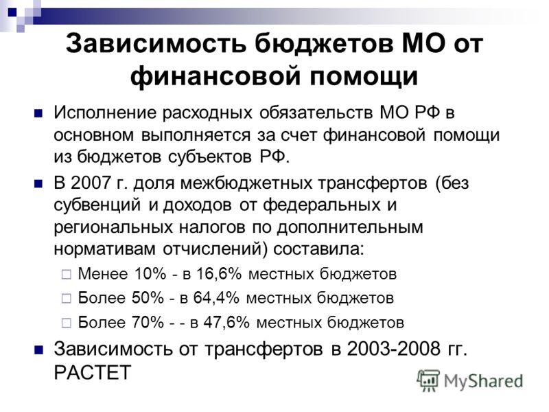 Зависимость бюджетов МО от финансовой помощи Исполнение расходных обязательств МО РФ в основном выполняется за счет финансовой помощи из бюджетов субъектов РФ. В 2007 г. доля межбюджетных трансфертов (без субвенций и доходов от федеральных и регионал