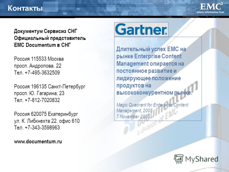 31 Контакты Длительный успех EMC на рынке Enterprise Content Management опирается на постоянное развитие и лидирующее положение продуктов на высококонкурентном рынке. Magic Quadrant for Enterprise Content Management, 2005 7 November 2005 Россия 11553