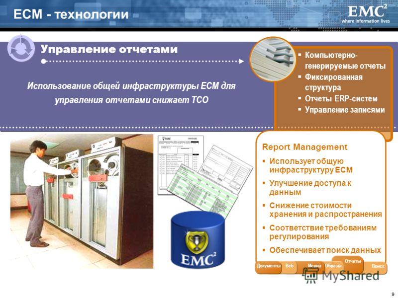 99 ECM - технологии Управление отчетами Компьютерно- генерируемые отчеты Фиксированная структура Отчеты ERP-систем Управление записями Report Management Использует общую инфраструктуру ECM Улучшение доступа к данным Снижение стоимости хранения и расп