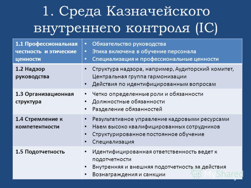 1. Среда Казначейского внутреннего контроля (IC) 9 1.1 Профессиональная честность и этические ценности Обязательство руководства Этика включена в обучение персонала Специализация и профессиональные ценности 1.2 Надзор руководства Структура надзора, н
