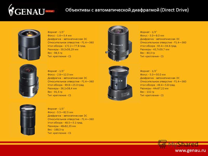 Объективы с автоматической диафрагмой (Direct Drive) Формат - 1/3