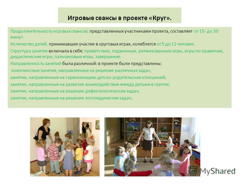 Игровые сеансы в проекте «Круг». Продолжительность игровых сеансов, представленных участниками проекта, составляет от 15- до 30 минут. Количество детей, принимавших участие в круговых играх, колеблется от 5 до 12 человек. Структура занятия включала в