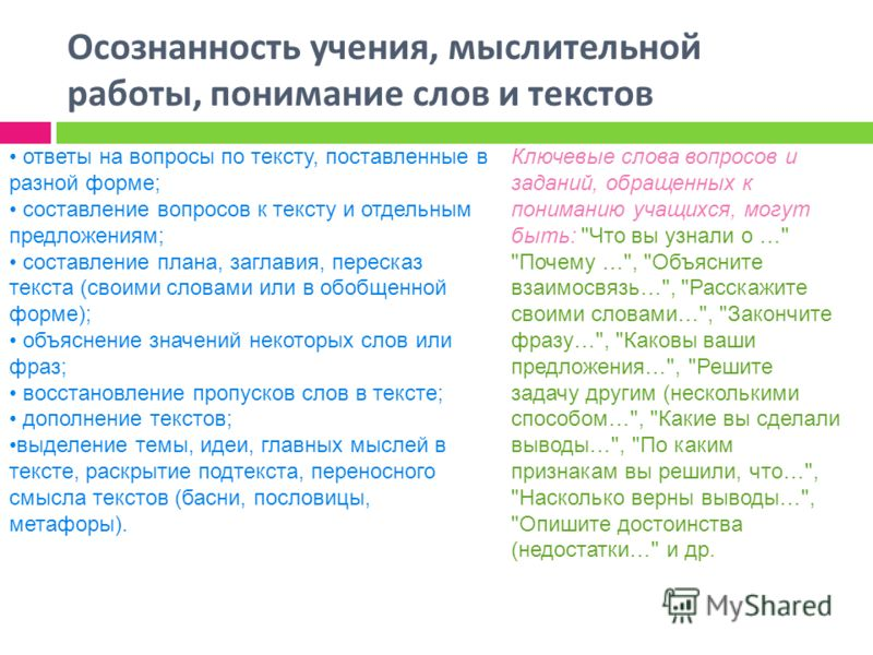 Осознанность учения, мыслительной работы, понимание слов и текстов ответы на вопросы по тексту, поставленные в разной форме; составление вопросов к тексту и отдельным предложениям; составление плана, заглавия, пересказ текста (своими словами или в об