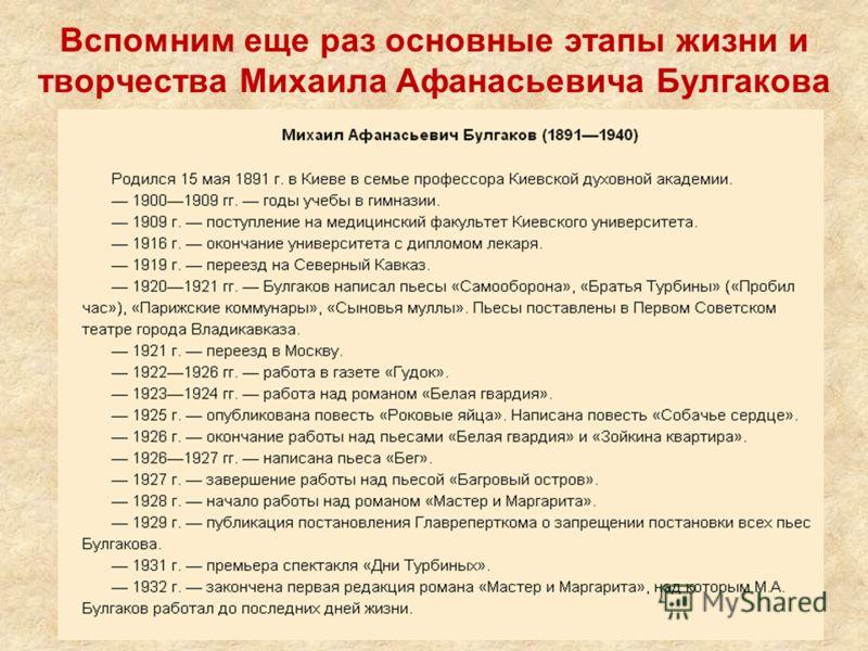 Вспомним еще раз основные этапы жизни и творчества Михаила Афанасьевича Булгакова