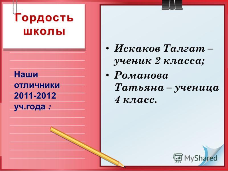 Гордость школы Искаков Талгат – ученик 2 класса; Романова Татьяна – ученица 4 класс. Наши отличники 2011-2012 уч.года Наши отличники 2011-2012 уч.года :