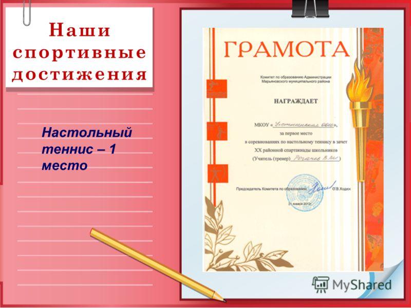 Наши спортивные достижения Настольный теннис – 1 место