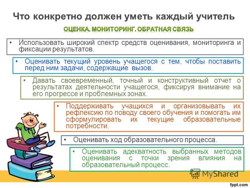 Что конкретно должен уметь каждый учитель Оценивать адекватность выбранных методов оценивания с точки зрения влияния на образовательный процесс. Использовать широкий спектр средств оценивания, мониторинга и фиксации результатов. Оценивать текущий уро