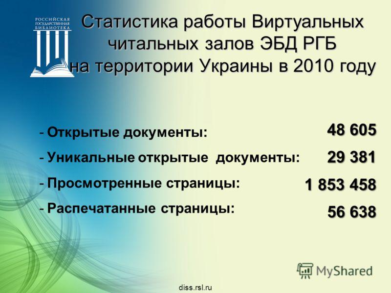 48 605 29 381 1 853 458 56 638 diss.rsl.ru Статистика работы Виртуальных читальных залов ЭБД РГБ на территории Украины в 2010 году -Открытые документы: -Уникальные открытые документы: -Просмотренные страницы: -Распечатанные страницы: