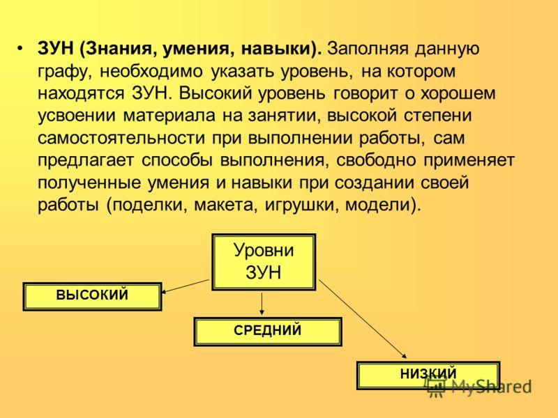 ЗУН (Знания, умения, навыки). Заполняя данную графу, необходимо указать уровень, на котором находятся ЗУН. Высокий уровень говорит о хорошем усвоении материала на занятии, высокой степени самостоятельности при выполнении работы, сам предлагает способ