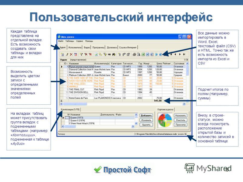 6 Пользовательский интерфейс Каждая таблица представлена на отдельной вкладке. Есть возможность создавать свои таблицы и вкладки для них Подсчет итогов по полям (Например, суммы) На вкладках таблиц может присутствовать группа вкладок с подчиненными т