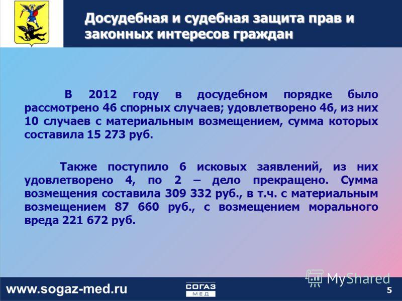 5 Досудебная и судебная защита прав и законных интересов граждан В 2012 году в досудебном порядке было рассмотрено 46 спорных случаев; удовлетворено 46, из них 10 случаев с материальным возмещением, сумма которых составила 15 273 руб. Также поступило