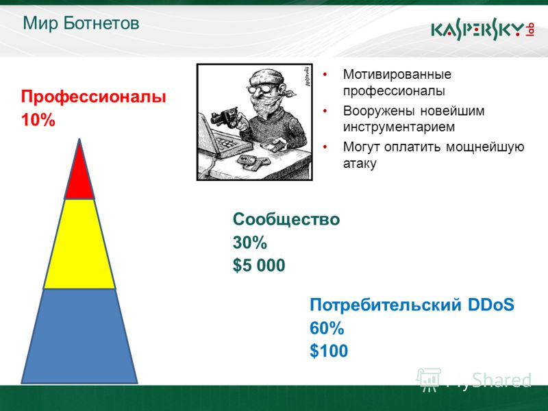 Click to edit Master title style Click to edit Master text styles –Second level Third level –Fourth level »Fifth level June 10 th, 2009Event details (title, place) Мир Ботнетов Профессионалы 10% Сообщество 30% $5 000 Потребительский DDoS 60% $100 Мот