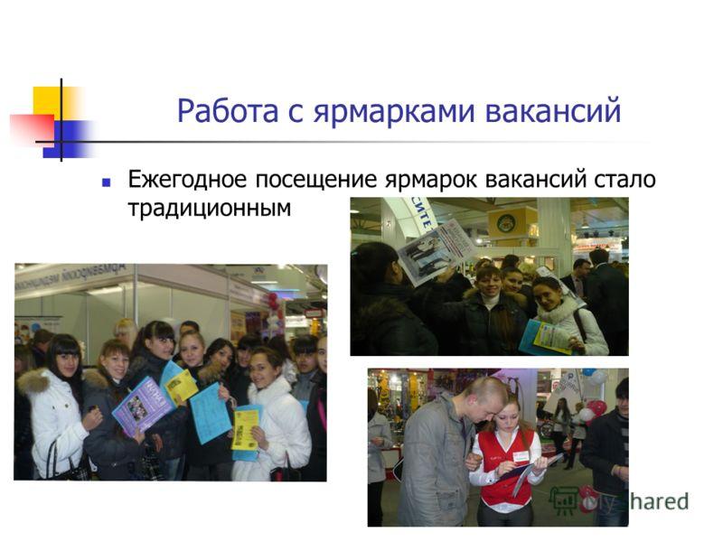 Работа с ярмарками вакансий Ежегодное посещение ярмарок вакансий стало традиционным