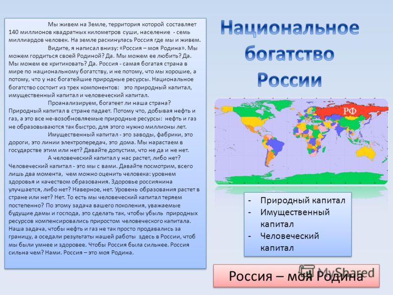 РФ Россия – моя Родина -Природный капитал -Имущественный капитал -Человеческий капитал -Природный капитал -Имущественный капитал -Человеческий капитал Мы живем на Земле, территория которой составляет 140 миллионов квадратных километров суши, населени