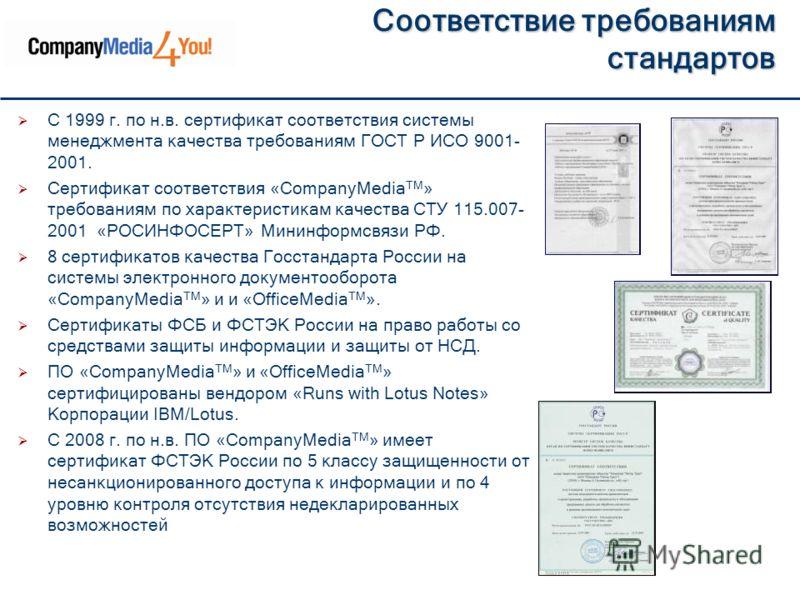Соответствие требованиям стандартов С 1999 г. по н.в. сертификат соответствия системы менеджмента качества требованиям ГОСТ Р ИСО 9001- 2001. Сертификат соответствия «CompanyMedia ТМ » требованиям по характеристикам качества СТУ 115.007- 2001 «РОСИНФ