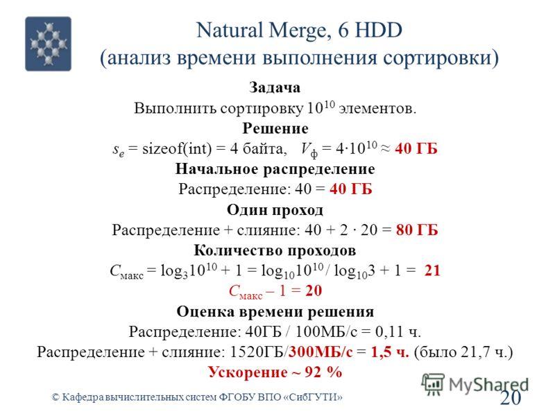 Natural Merge, 6 HDD (анализ времени выполнения сортировки) 20 © Кафедра вычислительных систем ФГОБУ ВПО «СибГУТИ» Задача Выполнить сортировку 10 10 элементов. Решение s e = sizeof(int) = 4 байта, V ф = 410 10 40 ГБ Начальное распределение Распределе