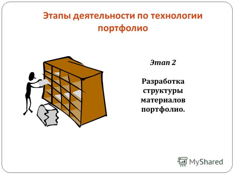 Этапы деятельности по технологии портфолио Этап 2 Разработка структуры материалов портфолио.
