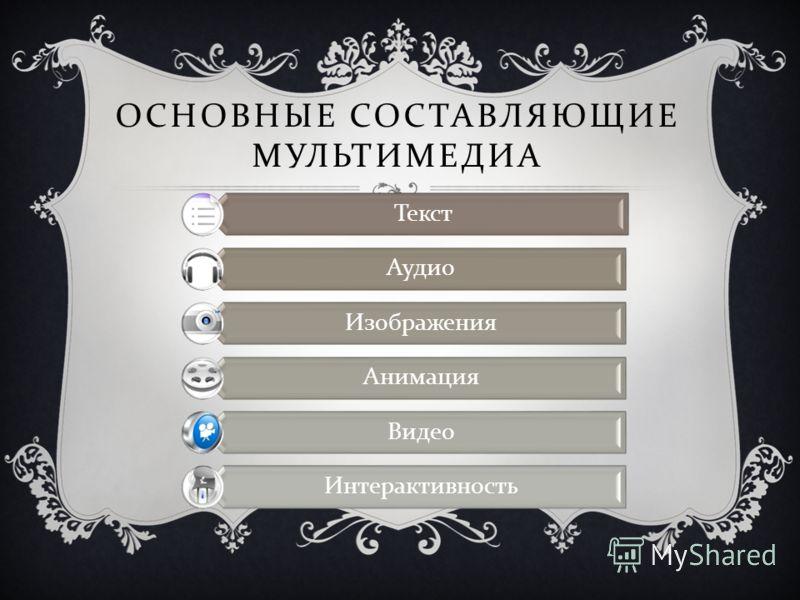 ОСНОВНЫЕ СОСТАВЛЯЮЩИЕ МУЛЬТИМЕДИА Текст Аудио Изображения Анимация Видео Интерактивность
