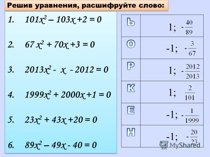 Решив уравнения, расшифруйте слово: 1.101х 2 – 103х +2 = 0 2.67 х 2 + 70х +3 = 0 3.2013х 2 - х - 2012 = 0 4.1999х 2 + 2000х +1 = 0 5.23х 2 + 43х +20 = 0 6.89х 2 – 49х - 40 = 0 1.101х 2 – 103х +2 = 0 2.67 х 2 + 70х +3 = 0 3.2013х 2 - х - 2012 = 0 4.19