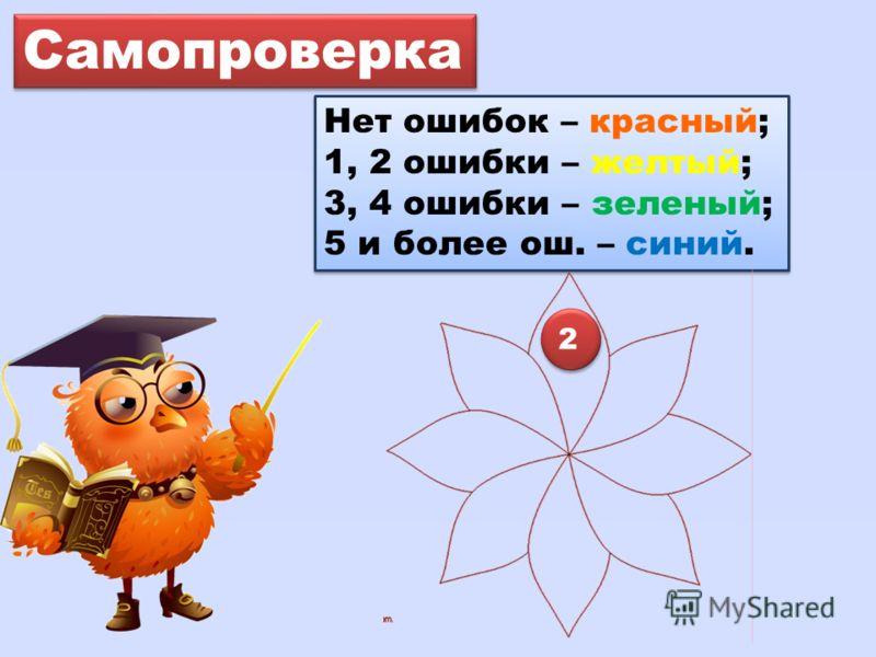 Самопроверка Нет ошибок – красный; 1, 2 ошибки – желтый; 3, 4 ошибки – зеленый; 5 и более ош. – синий. Нет ошибок – красный; 1, 2 ошибки – желтый; 3, 4 ошибки – зеленый; 5 и более ош. – синий. 2 2