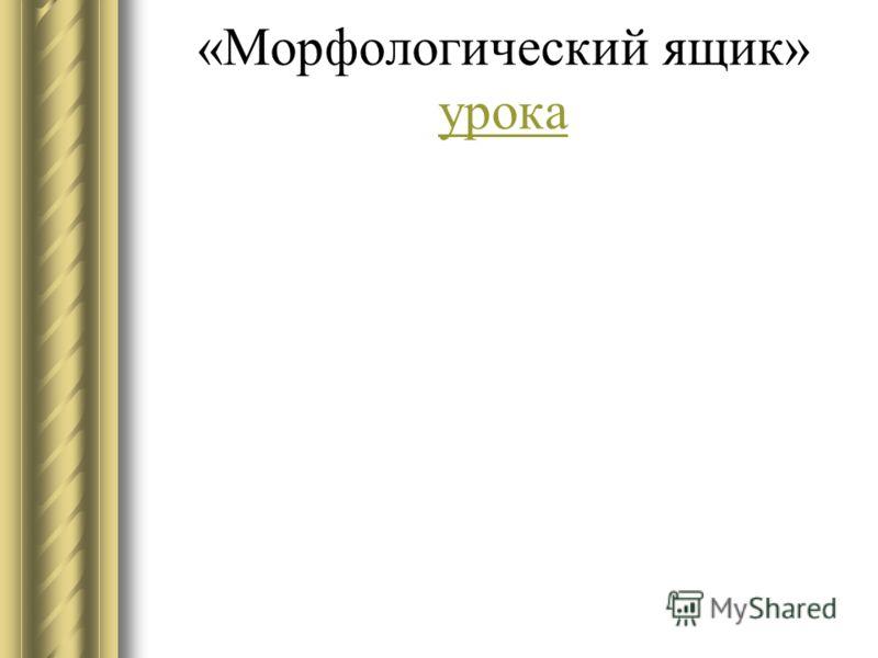 «Морфологический ящик» урока урока