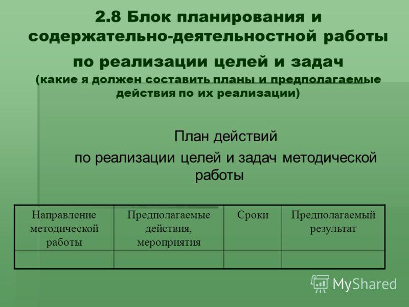 2.8 Блок планирования и содержательно-деятельностной работы по реализации целей и задач (какие я должен составить планы и предполагаемые действия по их реализации) План действий по реализации целей и задач методической работы Направление методической