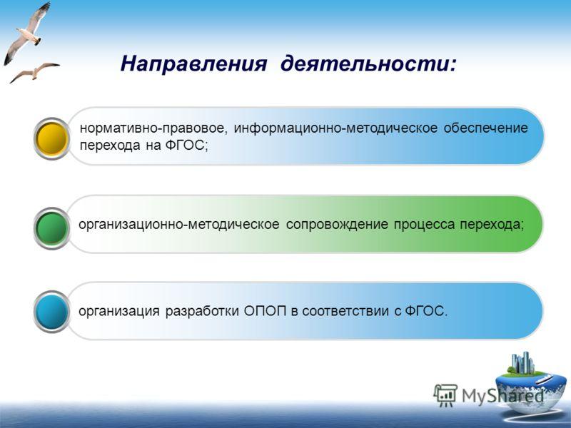 Направления деятельности: организация разработки ОПОП в соответствии с ФГОС. организационно-методическое сопровождение процесса перехода; нормативно-правовое, информационно-методическое обеспечение перехода на ФГОС;