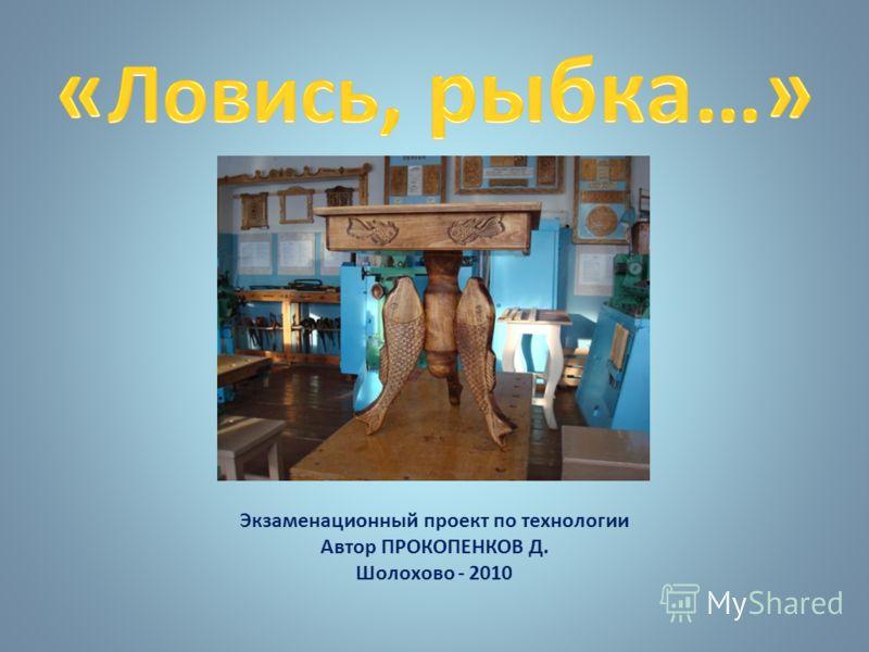 Экзаменационный проект по технологии Автор ПРОКОПЕНКОВ Д. Шолохово - 2010