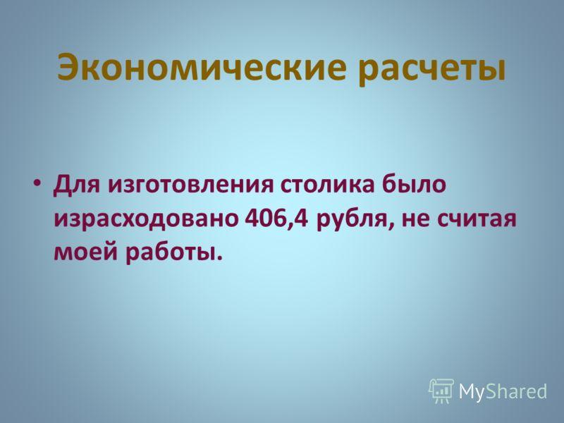 Экономические расчеты Для изготовления столика было израсходовано 406,4 рубля, не считая моей работы.