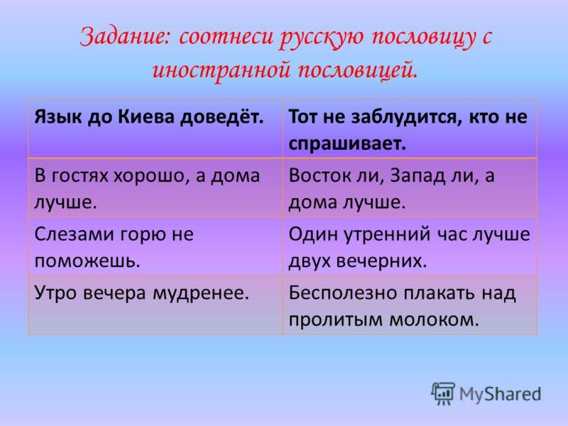 Задание: соотнеси русскую пословицу с иностранной пословицей. Язык до Киева доведёт.Тот не заблудится, кто не спрашивает. В гостях хорошо, а дома лучше. Восток ли, Запад ли, а дома лучше. Слезами горю не поможешь. Один утренний час лучше двух вечерни