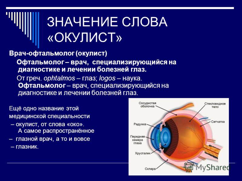 ЗНАЧЕНИЕ СЛОВА «ОКУЛИСТ» Врач-офтальмолог (окулист) Офтальмолог – врач, специализирующийся на диагностике и лечении болезней глаз. От греч. ophtalmos – глаз; logos – наука. Офтальмолог – врач, специализирующийся на диагностике и лечении болезней глаз