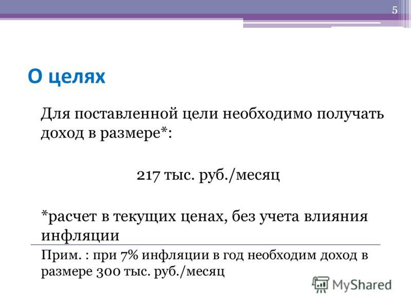 О целях Для поставленной цели необходимо получать доход в размере*: 217 тыс. руб./месяц *расчет в текущих ценах, без учета влияния инфляции Прим. : при 7% инфляции в год необходим доход в размере 300 тыс. руб./месяц 5